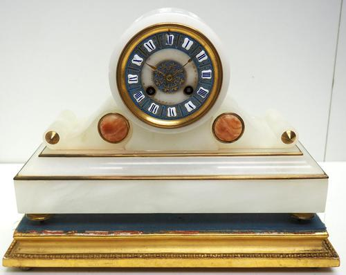Fine Antique French Alabaster Mantel Clock – Blue Painted Dial 8-day Striking Mantle Clock (1 of 8)
