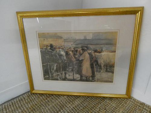 """Cattle Mart"" Watercolour by John Atkinson (1 of 8)"