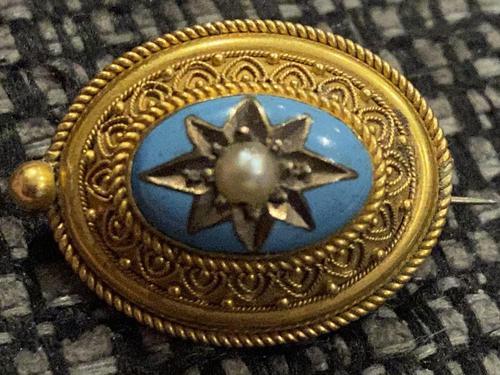 Victorian Yellow Metal, Enamel & Seed Pearl Brooch c.1860 (1 of 3)