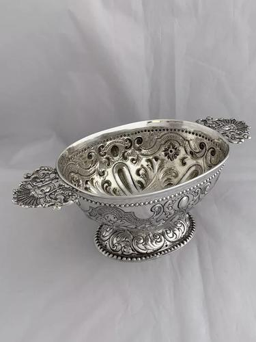Victorian Antique Silver Fruit Bowl 1861 London William Stocker Sterling Bowl (1 of 11)