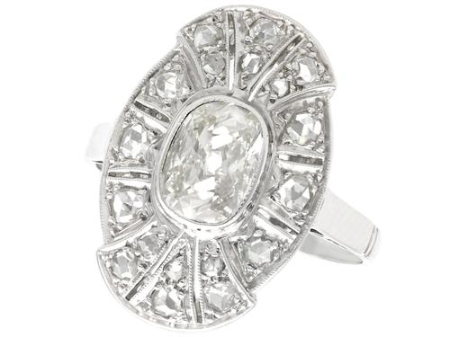 1.79 ct Diamond and 15ct White Gold Dress Ring - Antique Circa 1930 (1 of 9)