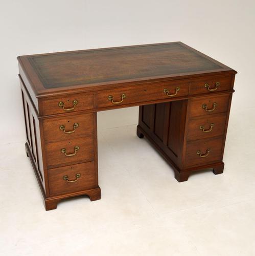 Georgian Style Mahogany Leather Top Pedestal Desk (1 of 12)