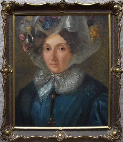 Portrait c1870 Woman in a Floral Bonnet (1 of 5)