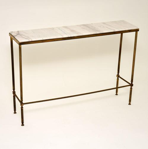 1970's Vintage Brass & Marble Console Table (1 of 9)