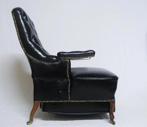French Second Empire Rosewood & Leather Reclining Chair (1 of 8)