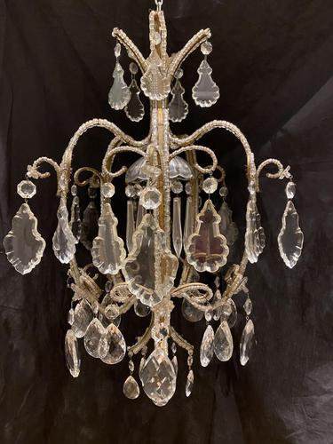 One Light Small Antique Italian Beaded Chandelier (1 of 11)