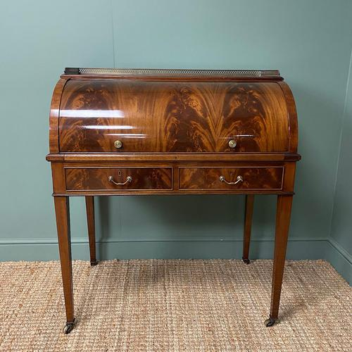 Superb Quality Victorian Antique Cylindrical Mahogany Desk by Maple & Co (1 of 12)