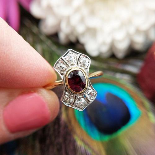 Art Deco 18ct Gold, Platinum Ruby & Diamond Shield Ring (1 of 8)