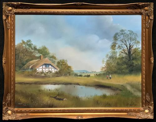 Lovely 'Chocolate Box Quality' Vintage 20thc English Landscape Oil Painting (1 of 15)