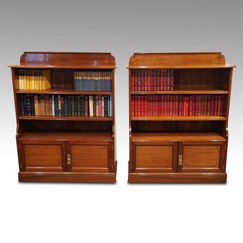 Pair Edwardian Walnut Open Bookcases (1 of 11)