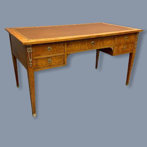 French Burr Walnut Bureau Plat Desk (1 of 9)