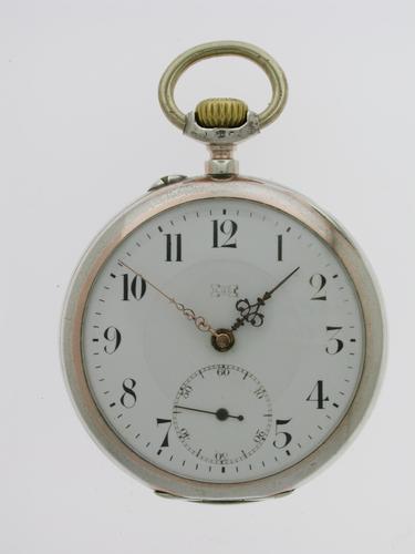 Silver 0.800 L.U.C. Chopard Open Faced Pocket Watch 1915 - Louis Ulysses Chopard (1 of 6)