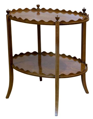 Oval Inlaid Mahogany 2 Tier Table by Shoolbred (1 of 6)