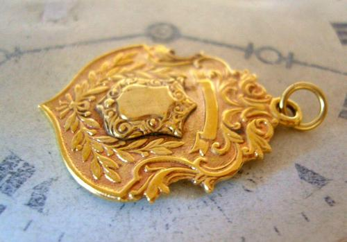 Antique Pocket Watch Chain Fob 1890s Victorian 18ct Gold Filled Large Shield Fob (1 of 6)
