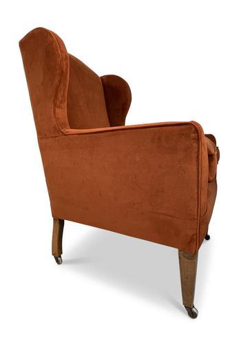 George III Velvet Upholstered Wingback Armchair (1 of 5)