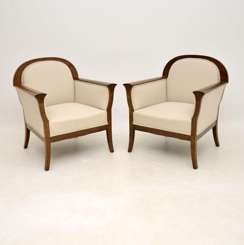 Pair of  Antique Swedish Satin Birch Armchairs (1 of 10)