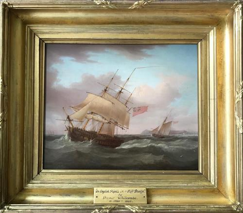 'an English Frigate in a Stiff Breeze'  An Oil Painting on Mahogany Panel Circa 1800  Signed Thomas Whitcombe C1752 - 1824 (1 of 5)