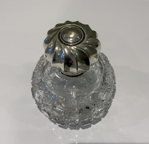 Silver topped scent cologne bottle (1 of 6)