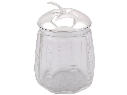 German Silver & Cut Glass Jar c.1930 (1 of 9)