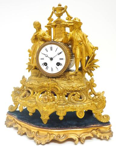 Stunning Quality French Mantel Clock Lady & Lord Figural Mantle Clock. (1 of 9)
