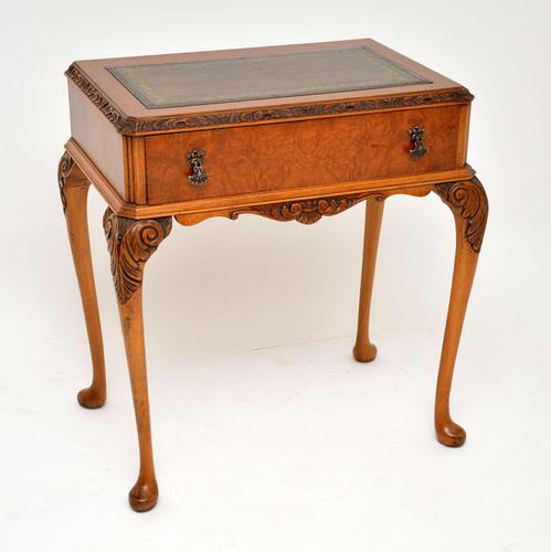 Antique Burr Walnut Leather Top Writing Table / Desk (1 of 10)