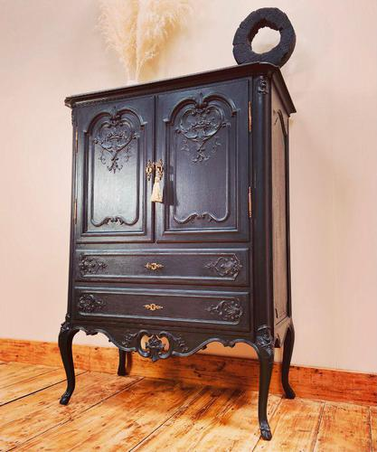 French Antique Style Cabinet / Black Cupboard / Louis XV Style (1 of 10)