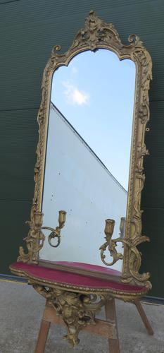 19th Century Decorative Gilt-framed Pier Mirror with Shelf (1 of 6)