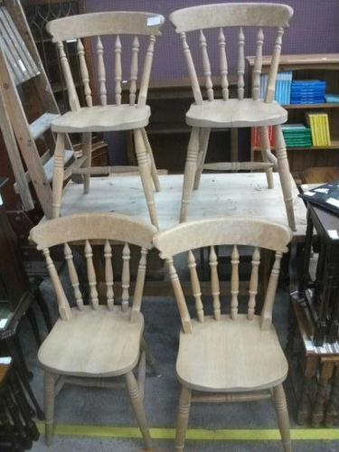 Set of Four Spindle Back Pine Chairs (1 of 3)