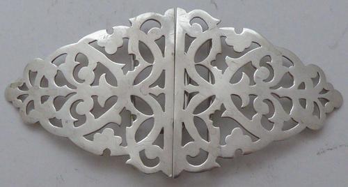 Victorian London 1898 Hallmarked Solid Silver Nurses Belt Buckle (1 of 7)