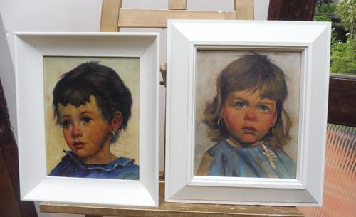 Two Oil on Canvas Portraits Little Girls Listed Dutch Artist Jeanne Brandsma (1 of 10)