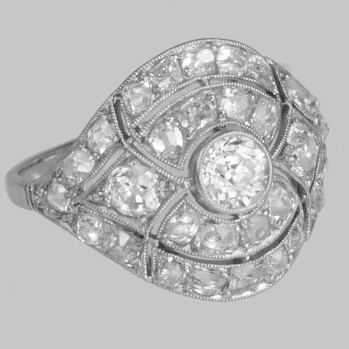 Art Deco 2.5ct Old Cut Diamond Platinum Original 1920's Large Cluster Bombé Ring (1 of 16)
