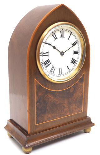 Impressive Mahogany Edwardian Lancet Clock Burr Walnut Inlay Timepiece Mantel Clock (1 of 8)