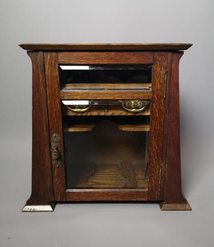 Antique Art Nouveau Oak Smokers Cabinet (1 of 13)