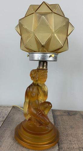 Art Deco Walther And Sohne Glass Table Lamp, Circa 1930's, Rewired And Pat Tested (1 of 10)