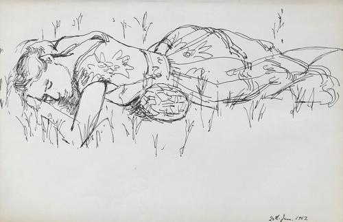 Original Pen & Ink Drawing 'Sleeping' by Toby Horne Shepherd - Dated 1957 (1 of 1)