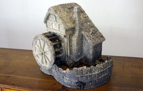Vintage Mid Century Shell Grit and Concrete Watermill Birdbath (1 of 12)