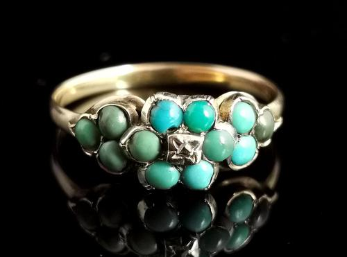 Antique Victorian Turquoise & Diamond Cluster Ring, 18ct Gold, Forget me Not (1 of 10)