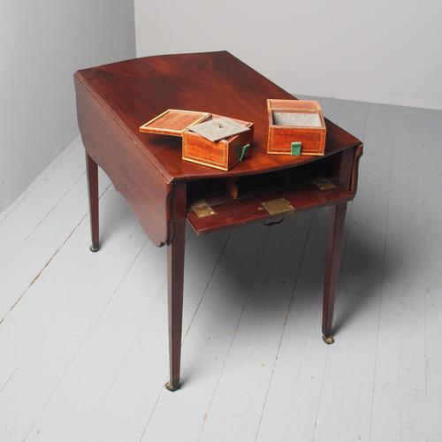 Antique George III Mahogany Pembroke Tea Caddy Table (1 of 13)