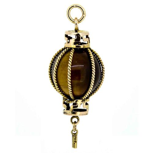 1960s 14ct Gold Tiger's Eye Chinese Lantern Charm (1 of 5)