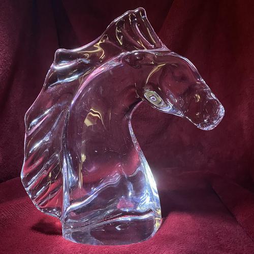 "Daum ""tete de Cheval"" Crystal Horse Head Sculpture c.1960 (1 of 9)"