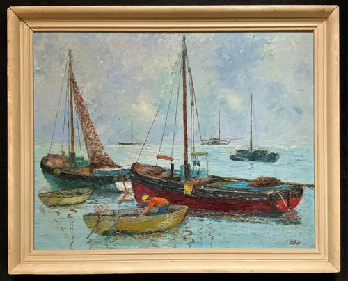 Marion Coker Leigh on Sea Fishing Boats Seascape Sailing Oil Painting (1 of 15)