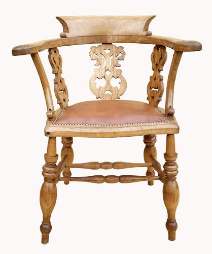Lovely Victorian Captains Desk Chair in Beech (1 of 5)