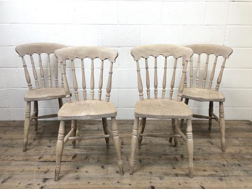Set of Four Antique Spindle Back Kitchen Chairs (1 of 9)