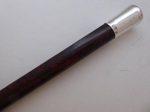 Rare Irish Walking Stick Cane 1901 Hallmarked Silver Pommel Malacca Wood Shaft (1 of 10)