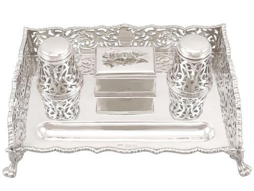 Sterling Silver Gallery Inkstand - Antique Victorian 1898 (1 of 9)