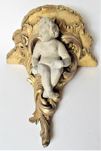 Italian 18th Century Carved and Gilded Shelf Bracket with Plaster Putto, ex Country House (1 of 8)