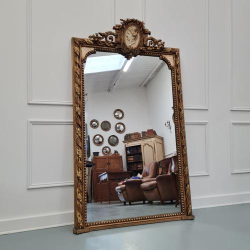 Large Antique French Mirror c.1860 (1 of 9)