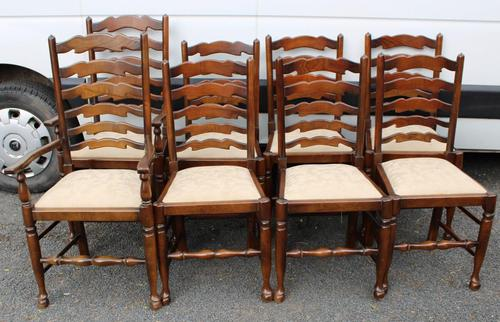1960s Set of 8 Ash Ladderback Dining Chairs - 2 Carvers + 6 Chairs (1 of 4)