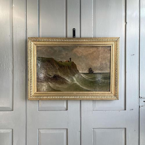 Antique Marine Coastal Seascape Oil Painting Entitled On the Yorkshire Coast by Tom Owen (1 of 10)