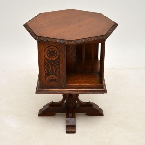Small Antique Arts & Crafts Oak Revolving Bookcase (1 of 10)